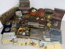 Job Lot of Antique & Vintage Curios Watches Coins Medals Lighters Jewellery etc