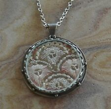 Etsy Jewelry Designer Presh Studio Sterling Silver Fabric Glass Pendant Necklace
