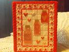 RED JARS FULL OF LOVE  NEW HANDMADE TISSUE BOX COVER - PLASTIC CANVAS -CUBE