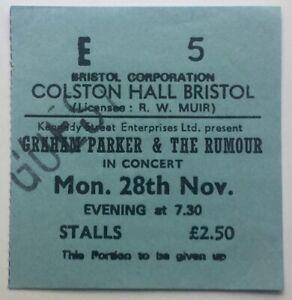 Graham Parker & The Rumour Original Concert Ticket Colston Hall Bristol 1977