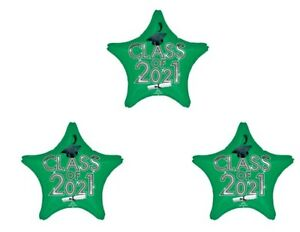 Set of 3 Green Star Graduation Class of 2021 Party balloons decorations supplies