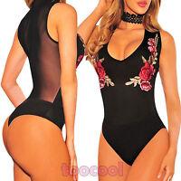 Body donna scollato velato ricamo rose colletto pizzo party top nuovo DL-2121