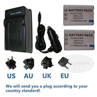 2X Battery+charger for D-LI78 D-L178 Pentax Optio W-80 W60 W80 WaterProof Camera