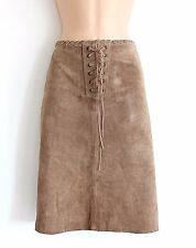 VTG Brown 100% Real Leather COLLOSEUM Front Lace Pencil Ladies Skirt size UK 12
