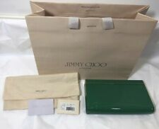 Authentic Jimmy Choo Womens Clutch Hand Bag Green Jade Gold Patent Leather Flap