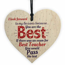 Thank You Teacher Teaching Assistant Gift Wooden Heart Leaving School Nursery