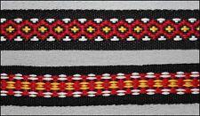 "5 Yds Black yellow white red Design woven Jacquard Ribbon Trim 5/8"" USA SHIPPER"