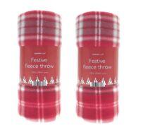 2 x Christmas Festive Fleece Throw Winter Sofa Bed Blanket Polyester 120x150cm