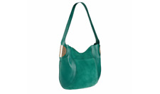 B.Makowsky Giamma Leather & Suede Hobo Bag with Hinge Emerald Green Purse NWT