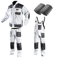 Profi Maurerbekleidung Giacca da Lavoro Bianco Pantaloni Salopette Abbigliamento
