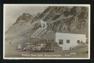 OR Biggs Junction RPPC c.1950 DINTY'S NEW CAFE & Cars by Smith No. 521