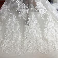 """Corded Embroidery Wedding Lace Fabric 51"""" Wide Floral Bridal Lace Fabric 1/2 Y"""
