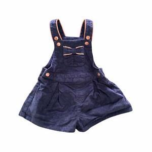 BABY GIRLS NAVY BLUE LOLA & MAVERICK DUNGAREES SHORTS 18-24 MONTHS
