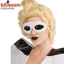 AC370 Licensed Lady Ga Ga Gaga Lunettes Glasses White Retro Costume Accessory