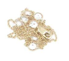 "White Topaz Round 20"" Necklace,14K Yellow Gold Chain & Lobster Lock"