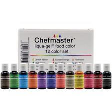 Chefmaster LIQUA-GEL Food Color Coloring 12pc Set Colors Made ins USA