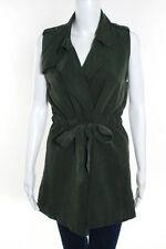 Velvet Heart Army Green Sleeveless Belted Vest Blazer Size Medium