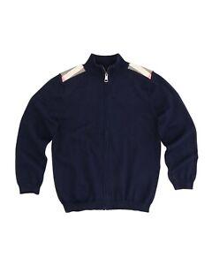 New Burberry Aldo Navy Blue Nova Check Trim Zip Front Logo Sweater 4 $240.00