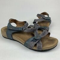 Taos Trulie Strappy Weave Navy Blue Wedge Sandals Sz 41 / US 10-10.5