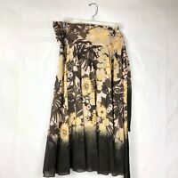 Rebecca Taylor Women's Floral Silk Skirt Brown Beige Yellow Size 6 Ombre 007P