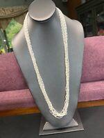 """Vintage Estate 28"""" Multi Strand Plastic White Chain Necklace"""