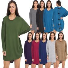 Womens Ladies Bow Back Baggy Long Batwing Oversized Hi Lo Dress Top Plus Size
