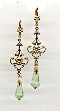 Art Nouveau Deco Drop MINT green crystal FILIGREE EARRINGS 14K Gold gp Vtg Czech