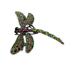 Dragonfly Pin Brooch  Green & Pink Crystals  Vintage Art Deco Design