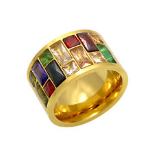 Multicolor Crystal Ring Rainbow Color Stone 316L Stainless Steel Ring For lovers