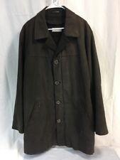 *A01-08 CALVIN KLEIN Mens 44 REG FAUX SUEDE BROWN Coat Jacket ZIP OUT WOOL LINER