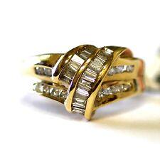 14k yellow gold .54ct baguette diamond cluster ring 5.9g vintage estate womans