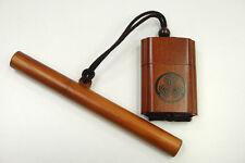 Samurai Inro Japanese tobacco box on Mitsuba aoi Tokugawa crest w/ kiseru case