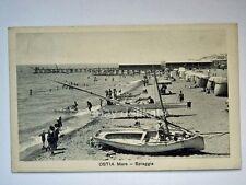 OSTIA mare spiaggia barca vela animata Roma vecchia cartolina