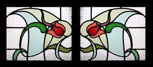 Antique English Art Nouveau Rare & Beautiful Pair Stained Glass Windows