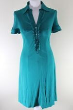 Karen Millen DW133 Sz10 Turquoise Teal Shirt Dress Viscose World Free Postage