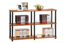 Furinno Shelf Bookcase Tube Storage Display Rack 3 Tier Double Size Flat Surface