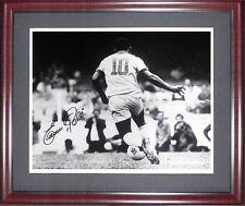 Edson Pele Signed Inscribed Framed 16x20 B&W Photo Autograph Brazil Pele Holo