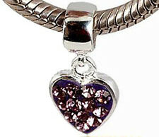 EUROPEAN STERLING SILVER LAVENDER CRYSTAL DANGLE HEART BEAD CHARM for Bracelet