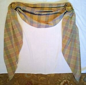 Curtain Scarf Swag Lined w Hardware 4 AVAILABLE Sage Green Burgundy Yellow Gold