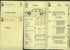 Renault R 20  R 30 DAT Unterlagen Ersatzteile Ausstattung Preisliste 1979/80