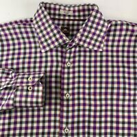 Peter Millar Mens Button Front Shirt Multicolor Gingham Long Sleeve Cotton XL