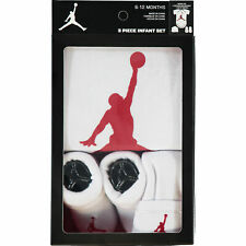 Nike Air Jordan Jumpman 23 BABY 3-Pièce Tenue Ensemble Cadeau Blanc/rouge, 6-12 mois