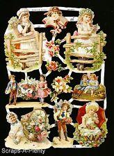 German Victorian Style Embossed Scrap Die Cut - Children Dreaming      EF7061