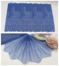 """8""""*1Y Embroidered Organza Lace Trim~Iris Blue+Light Blue~Bloom of Youth~Elegant~"""