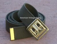 BELT WEB & BUCKLE GREEN COTTON CANVAS FASHION MILITARY ARMY STYLE JEANS w/ P38