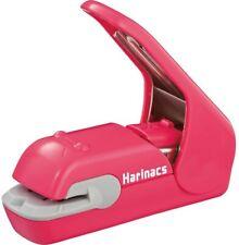 New Kokuyo Needless Stapler Harinacs Press Staple No Holes Stapleless Pink Japan