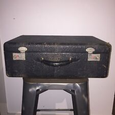 Vintage Black Pebbled LEATHER SUITCASE  Luggage Antique Bag Case