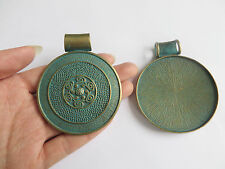2pcs Large Verdigris Patina Round Charms Pendants for Jewelry Making Findings
