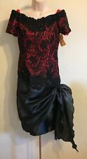 Vintage 1980's Primadonna Red and Black Lace Party Cocktail Dress