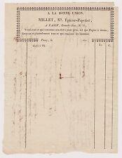 Facture 1820. A La Bonne Union. Millet épicier – Papetier. PASSY.